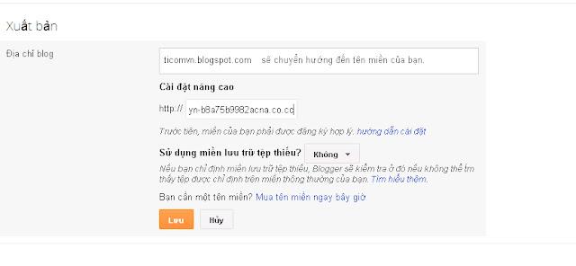 Thêm tên miền Co.Cc vào blogspot