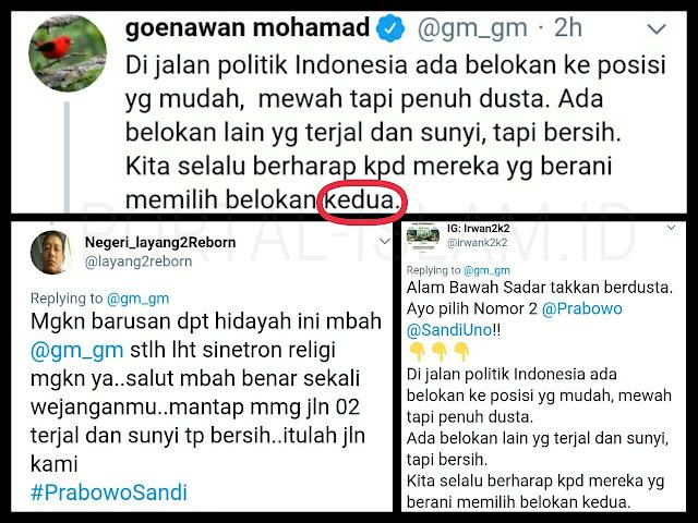 "Goenawan Mohamad Berharap ""Memilih Belokan Kedua"", Warganet: Hidayah Sudah Turun"