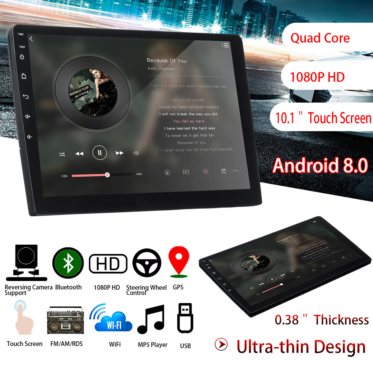 184566be84e 10 Inch Android 8 2DIN Car Stereo Quad Core Touch Radio WIFI GPS Nav Video  MP5