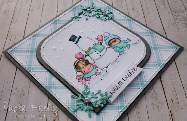 Winter / Christmas card using Snowman Love by Stamping Bella
