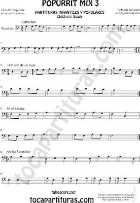 Partitura de Trombón y Bombardino Solfeando, Historia de un Lugar, En el Bosque y Anclas Potanclas Sheet Music for Popurrí Mix 3 Trombone and Euphonium Music Scores