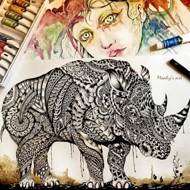 08-Rhino-Maahy-Drawings-Given-the-Zentangle-Treatment-www-designstack-co