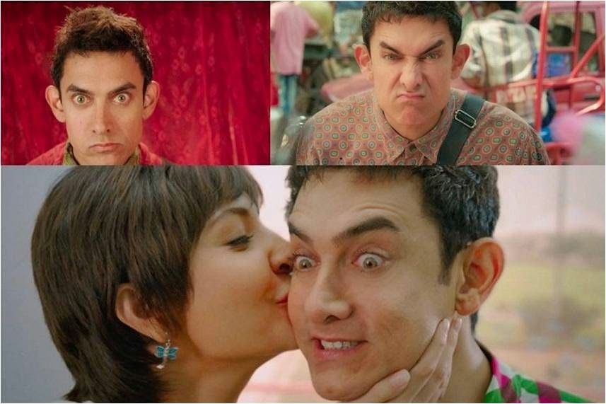 Various expressions in different moods of PK; Anushka Sharma kissing Aamir Khan in Bollywood movie PK
