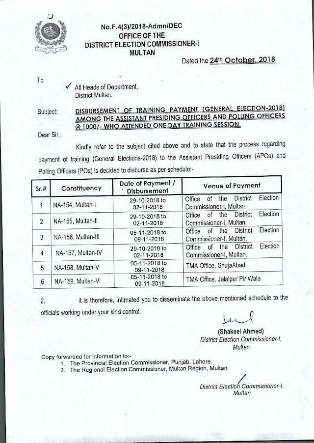 PAYMENT OF TRAINING GENERAL ELECTIONS 2018 TO APOs AND POs