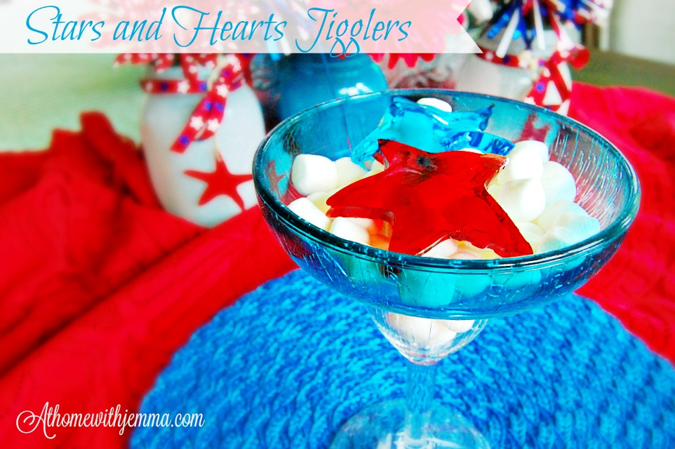 red star, blue star, blue heat and marshmallows served in a blue glass