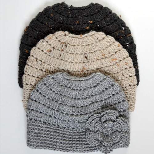 Messy Bun Hat in 3 Sizes - Free Patterns