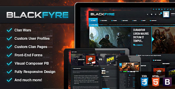 Free Download Blackfyre V1.4.2 WP Create Your Own Gaming Community Theme