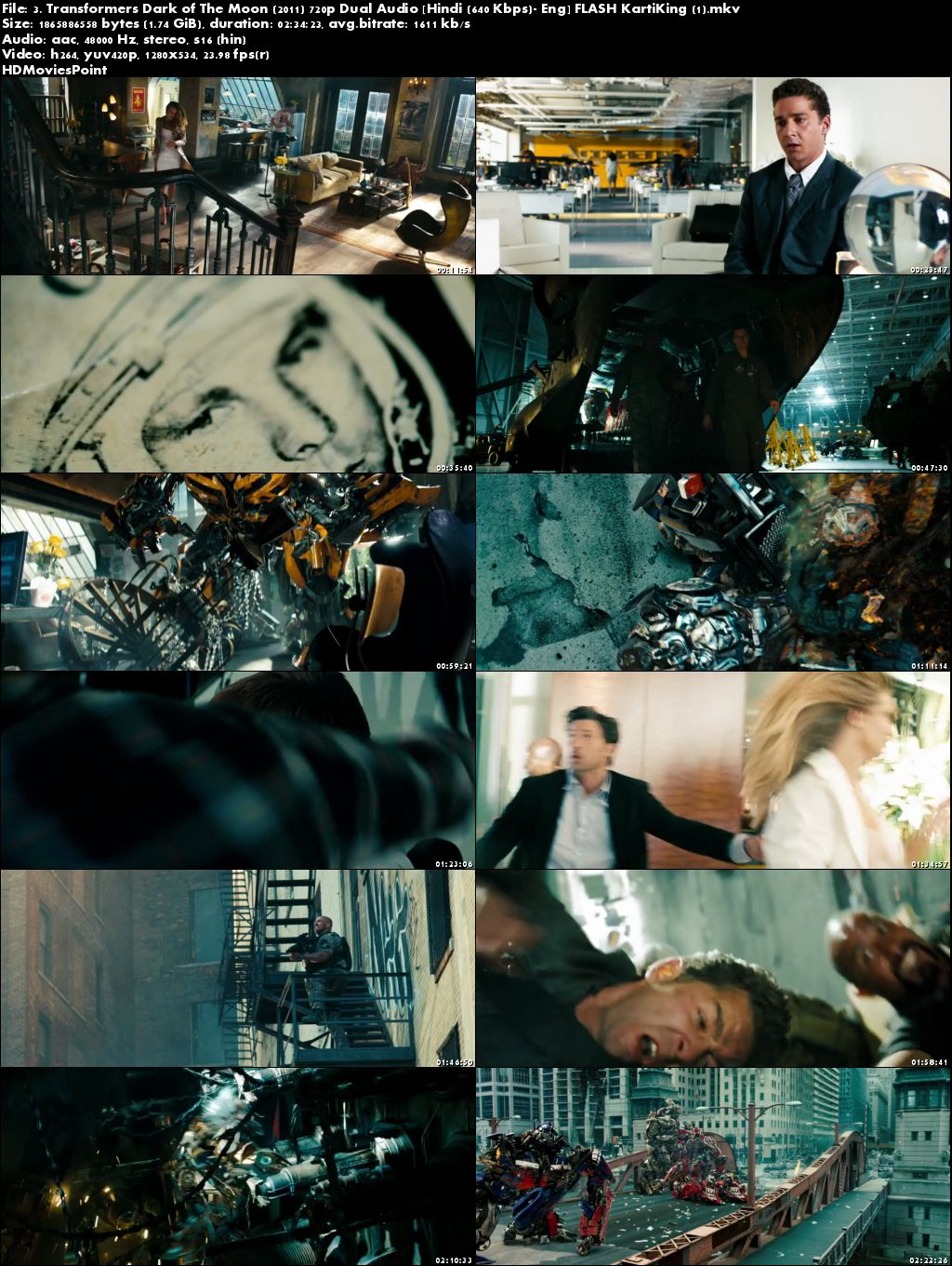 Screen Shots Transformers: Dark of the Moon 2011 Full Movie Download Hindi Dubbed