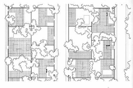 planos casa tres patios mies van der rohe