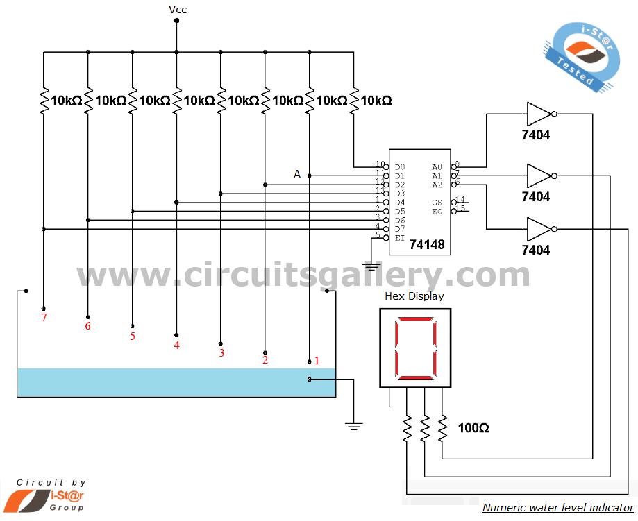 Numeric water level indicator- liquid level sensor circuit diagram on