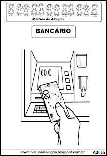 Desenho de bancário para colorir