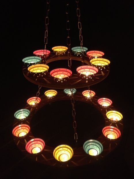 Good Description Using Sommarmys tea light holders some plywood and chain I made an tea light holder chandelier