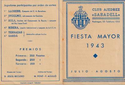 Díptico del II Torneo de Sabadell 1943