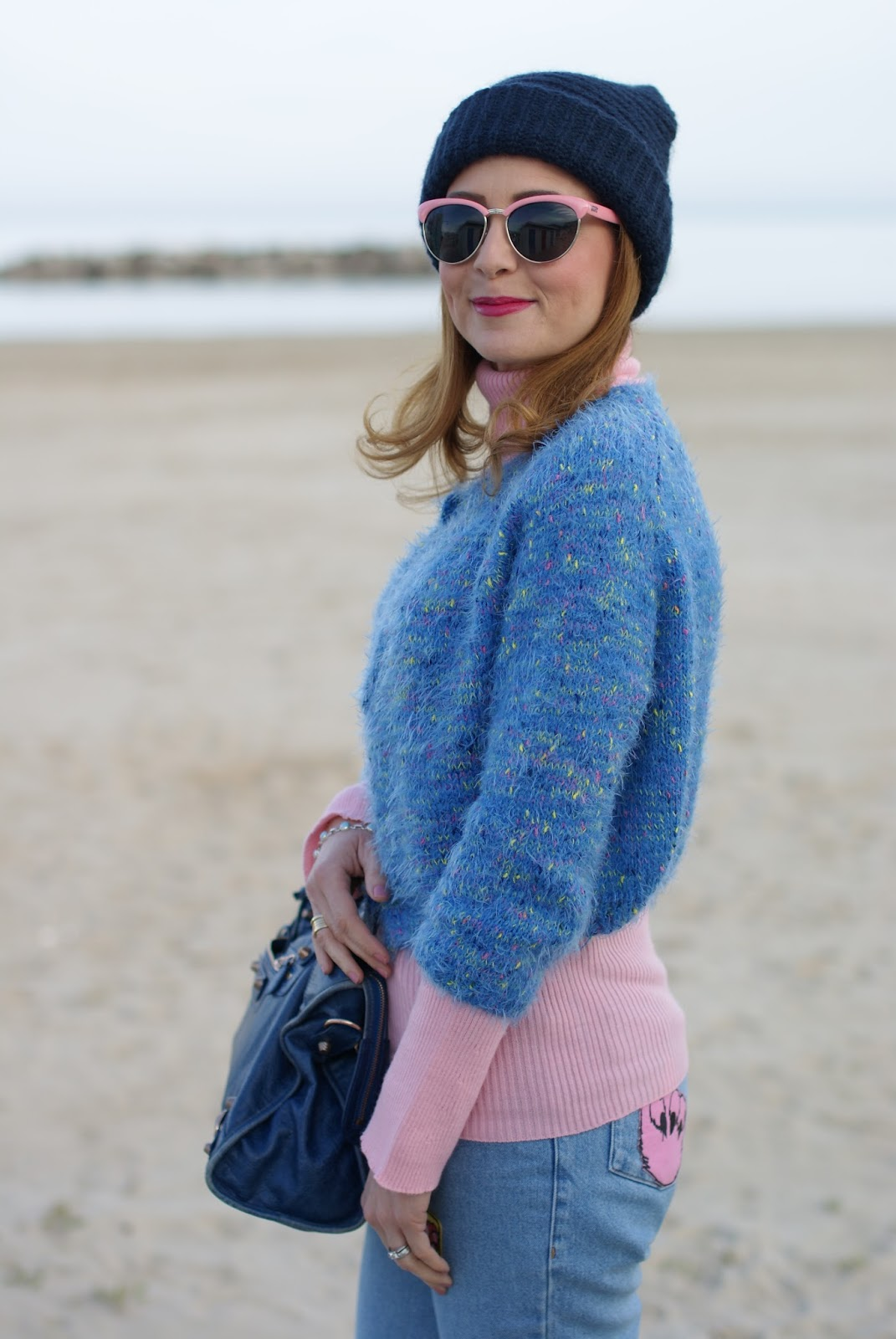 Mom patched jeans, pink Vans sunglasses, Balenciaga bag on Fashion and Cookies fashion blog, fashion blogger style