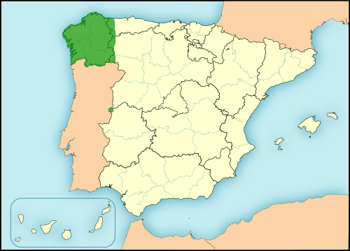 Galician language in Spain map