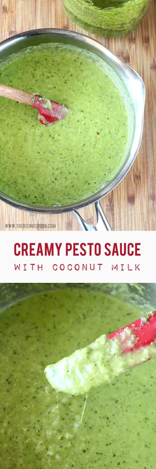 Make your own creamy pesto sauce in minutes with full-fat coconut milk, homemade or jarred pesto, butter, cheese, and seasonings. It's perfect for drizzling on pasta, meats, and veggies, and would even work as a warm dip!