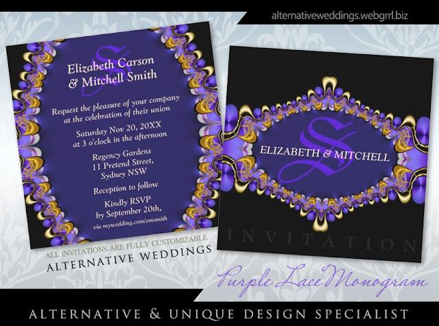 Black Purple Lace Monogram Wedding Invitations Customizable Event