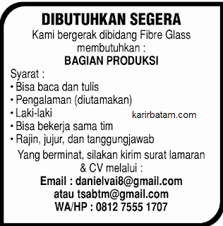 Lowongan Kerja Perusahaan Fibre Glass