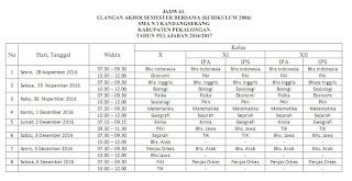 Jadwal UAS Gasal SMAN 1 Kandangserang, 2016/2017