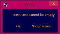 Figure 5.11Error Message for empty crash cost FREE PROJECT DOCUMENT ON AUTOMATION OF TIME COST TRADE OFF ANALYSIS