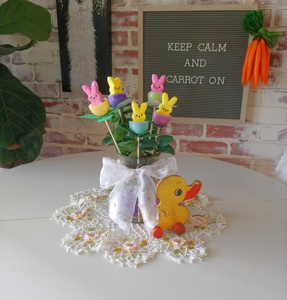 Last Minute Easter Peeps Floral Arrangement