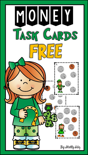 Free St. Patrick's Day task cards involving counting money