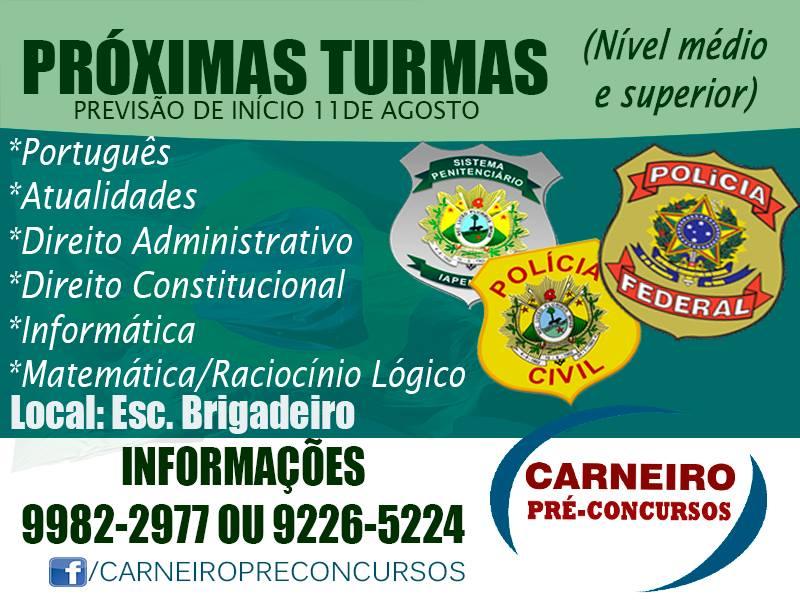 CARNEIRO PRÉ-CONCURSOS ABRE TURMAS PREPARATÓRIAS PARA OS CONCURSOS DE AGENTE PENITENCIÁRIO E POLICIA FEDERAL