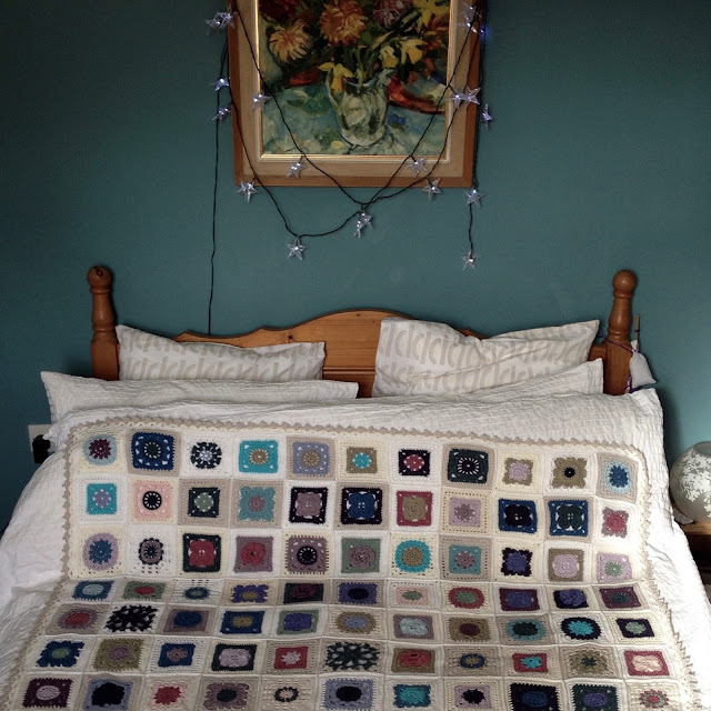 crochet bedspread Cornish bedroom