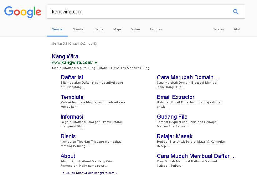 Google Sitelink KangWira.Com