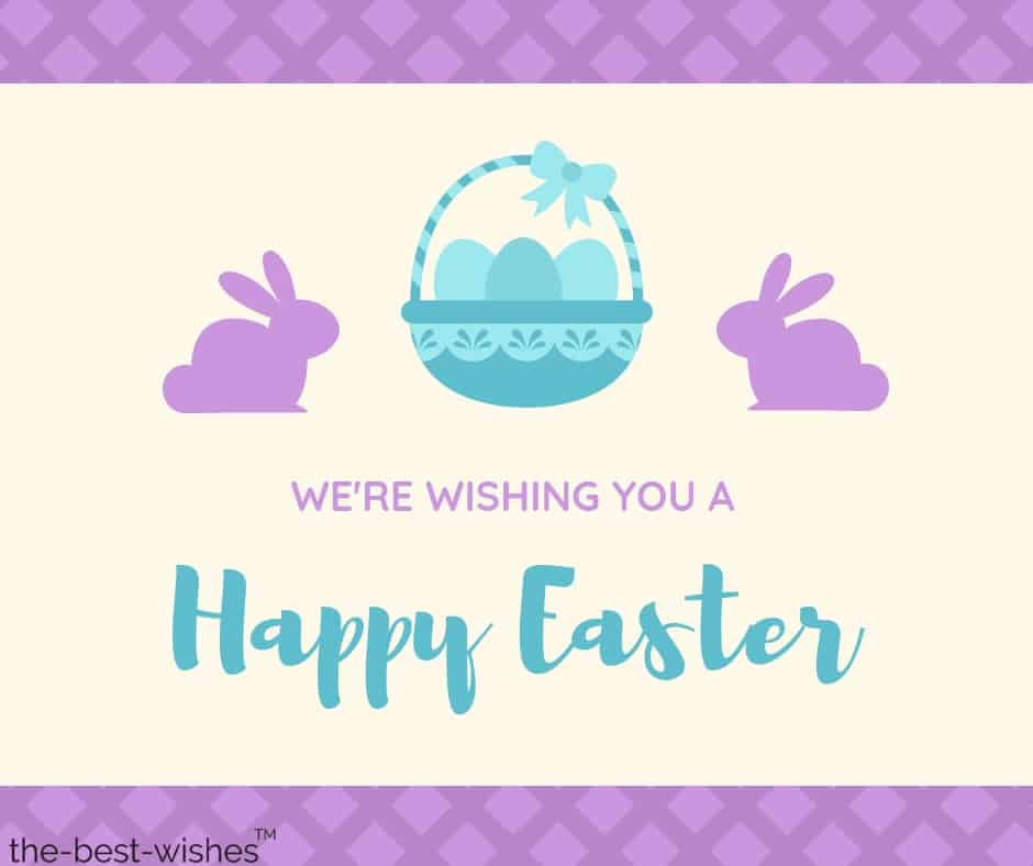 blue lavender eggs bunny easter wishes card
