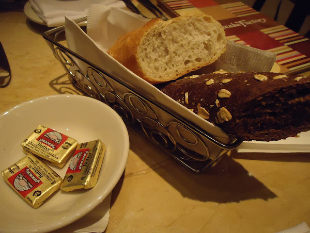 Complimentary bread and butter at the Cheesecake Factory Dubai Mall