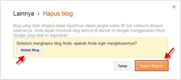 konfirmasi penghapusan blog