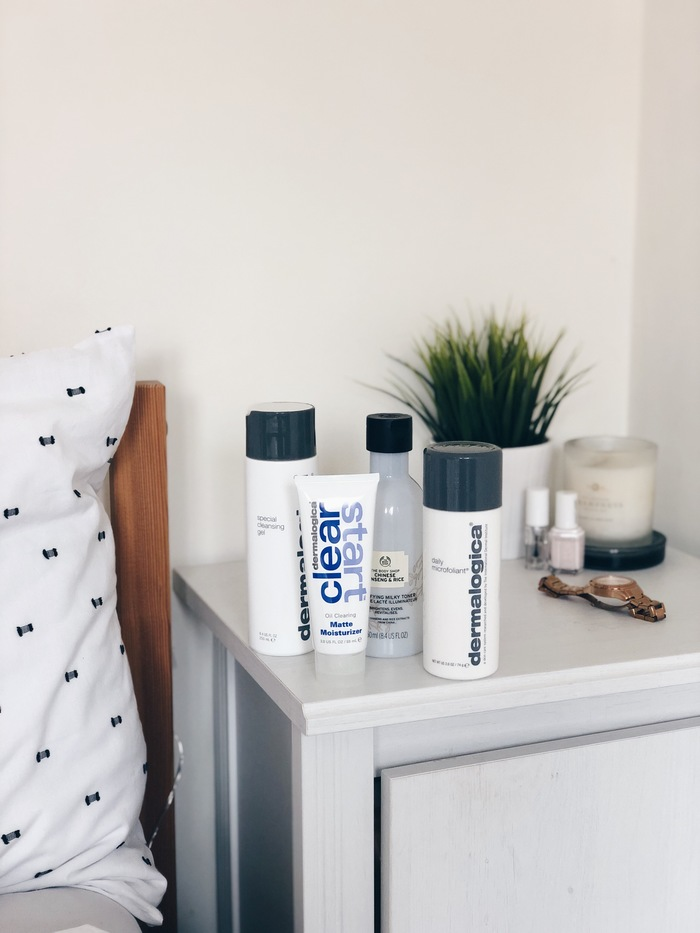 My morning acne clearing skincare routine featuring products from Dermalogica and The Body Shop.