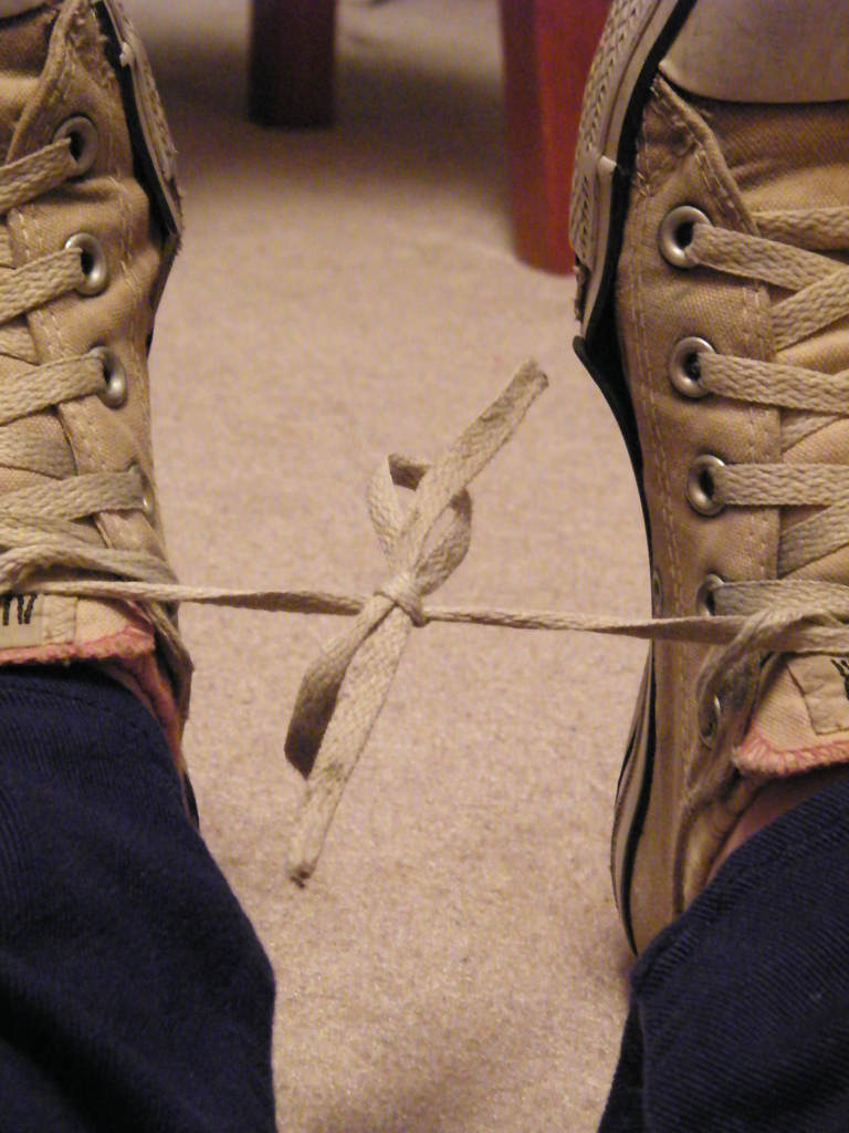 True Tall Taiko Tales Shoelaces Tied Together