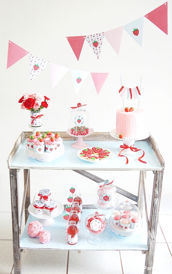 Summer Party Ideas | Strawberry Desserts Table - BirdsParty.com