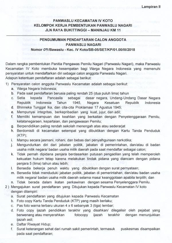 Rekrutmen Anggota Panwaslu Nagari Hingga 24 Maret 2018