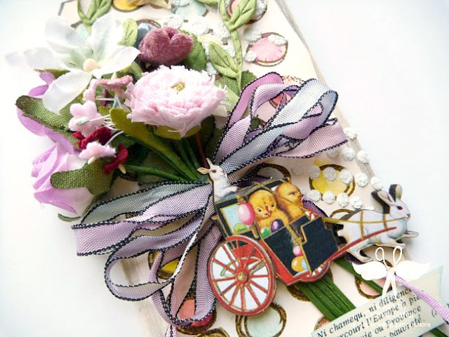 Vintage Easter Spring Mixed Media Tag by Dana Tatar