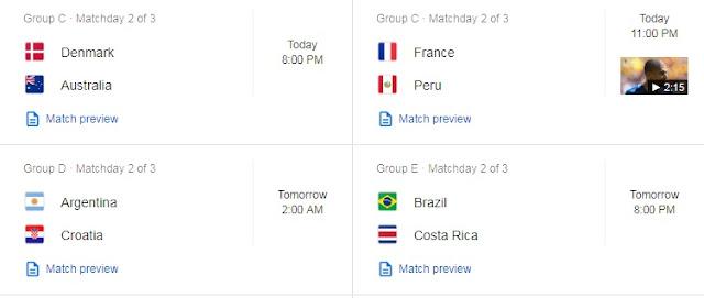 Denmark vs Australia, France vs Peru, Argentina vs Croatia
