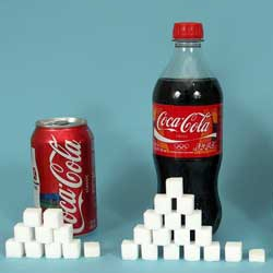 grams of sugar in a can of coca cola