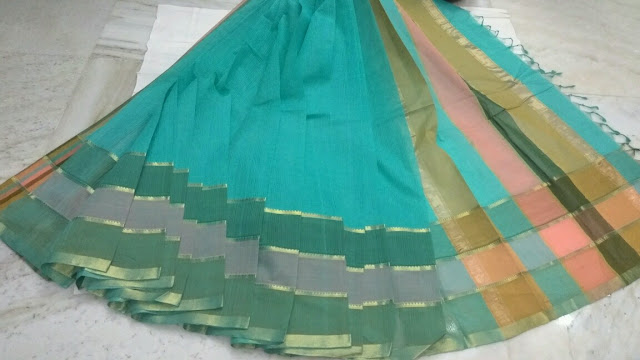 Turquious color Mangalagiri Cotton sarees
