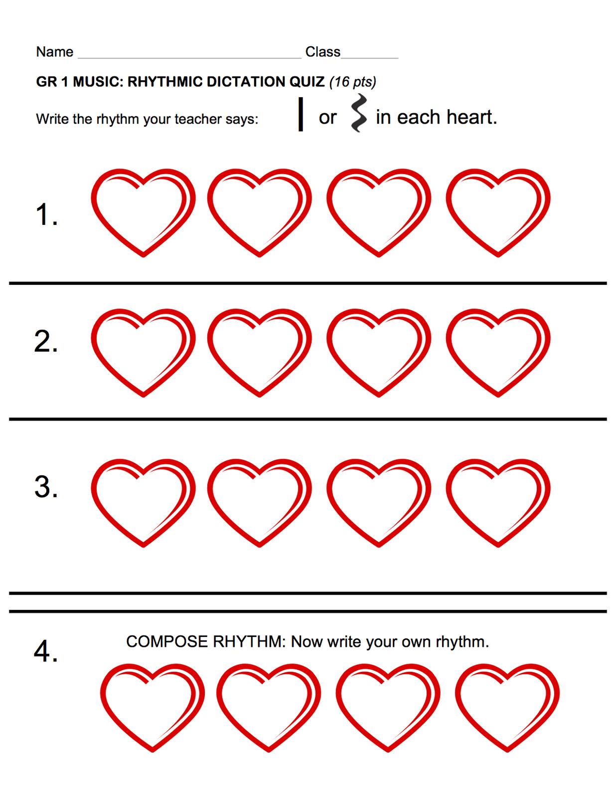 1st Grade Rhythm Assessments