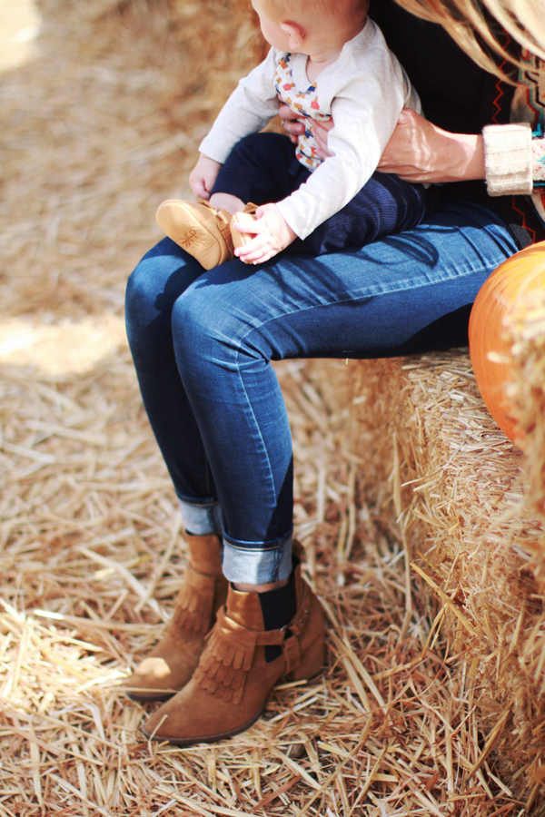 Mother-son fall style - moccasins for baby, boots for mom