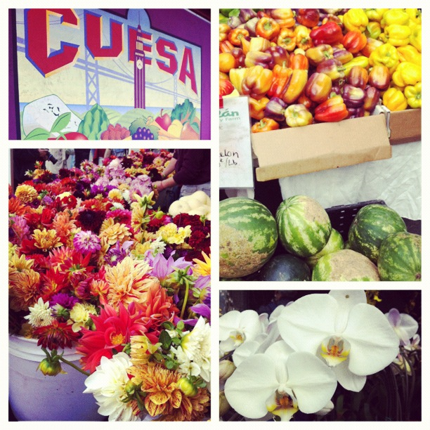 A selection of fruit and flowers from the San Francisco Farmer's Market at the Embarcadero.