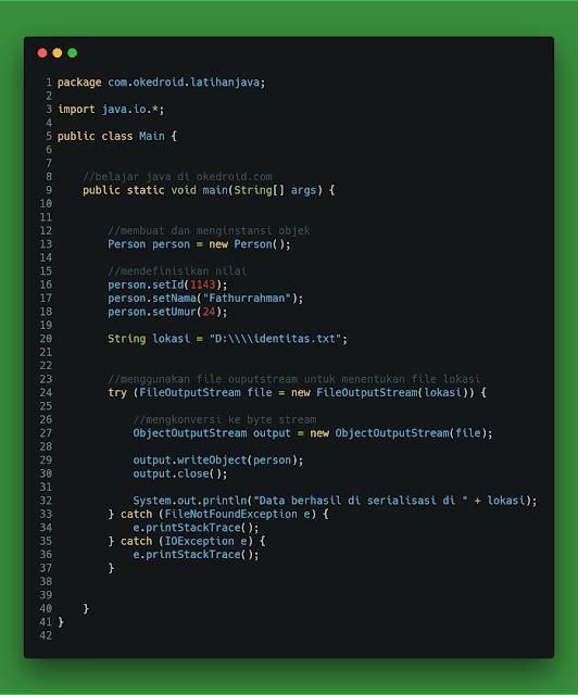 Contoh Code fungsi program  Proses Serialization serialisasi di java