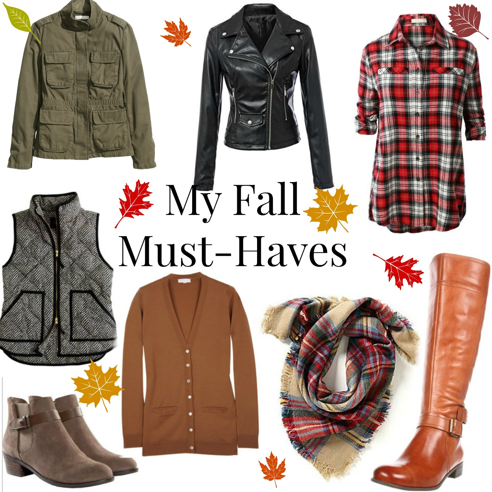 plaid button up, houndstooth vest, cargo jacket, field jacket, camel cardigan, moto jacket, blanket scarf, riding boots, booties