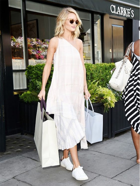 Rosie Huntington Whiteley in a white on white outfit - celebrity street style!