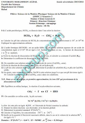 corrigé contrôle rattrapage réaction chimique FSR 13-14 smpc s2