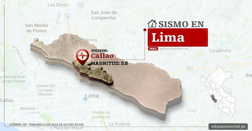 Temblor en Lima de magnitud 3.6 (Hoy Domingo 5 Agosto 2018) Sismo EPICENTRO Callao - IGP - www.igp.gob.pe