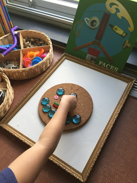 creating self portraits with loose parts in kindergarten