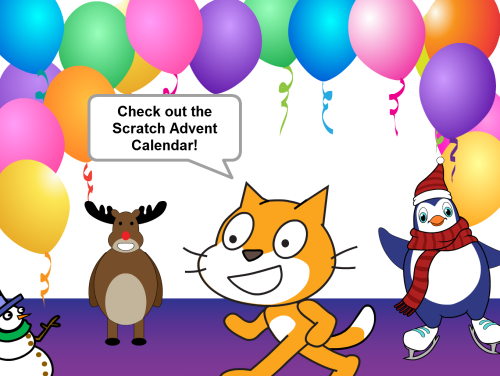 Scratch cat and friends invite you to check out the advent calendar!